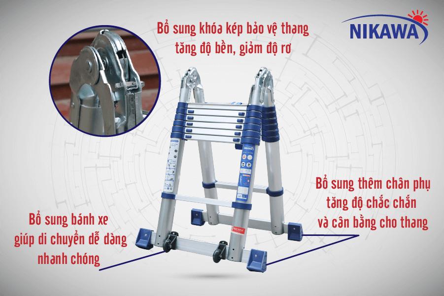 Thang nhôm rút đôi nikawa NK-38AI new