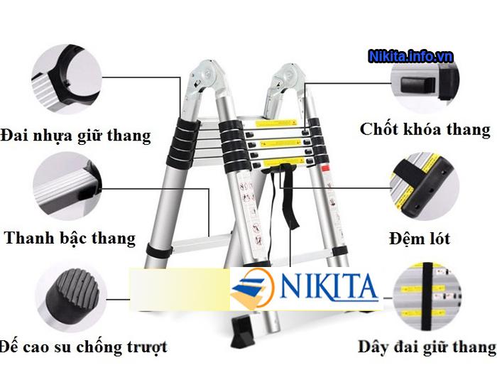 Thang nhôm rút chữ a nikita AI72