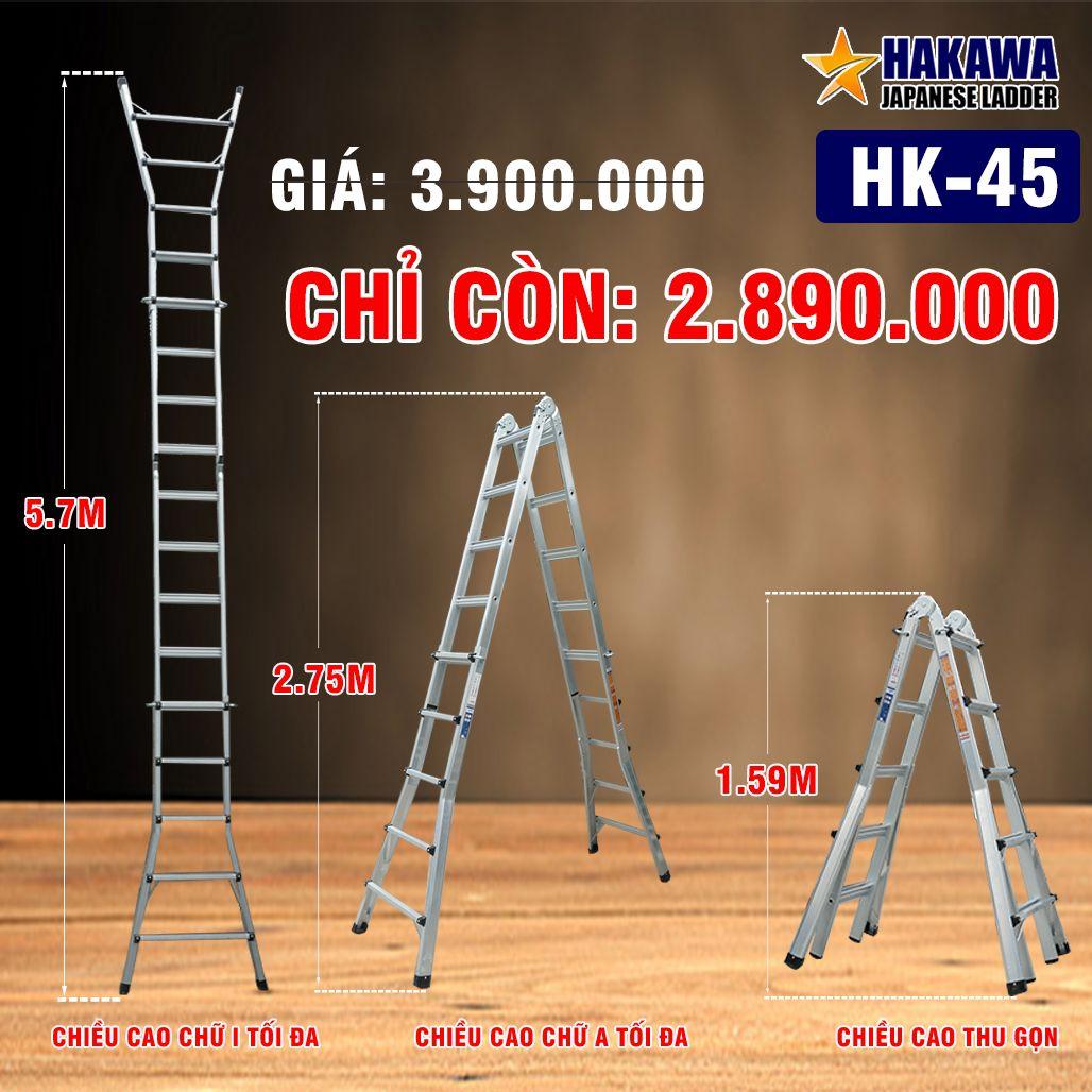 Thang nhôm rút chữ A HAKAWA HK 45